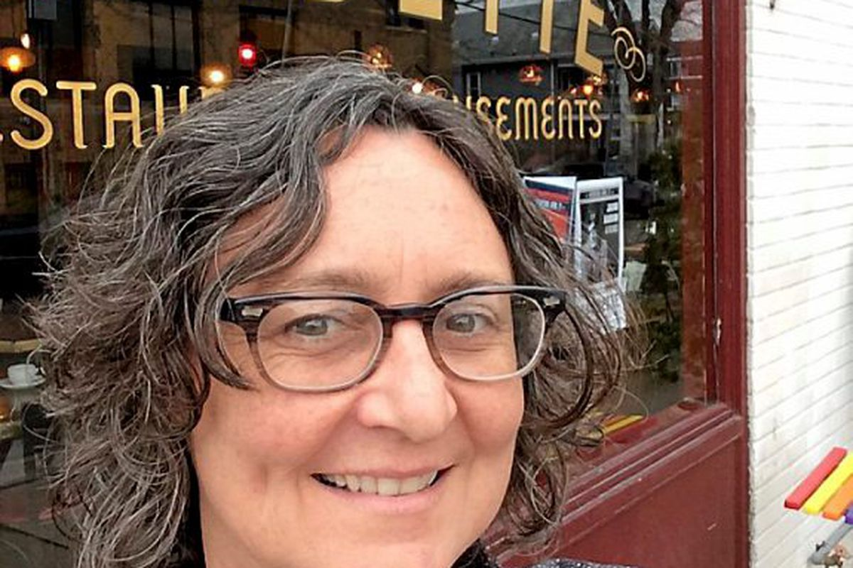 Kim Bartmann outside her first restaurant, Barbette