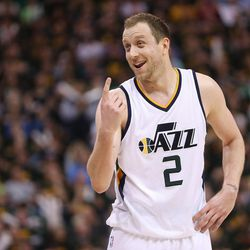 Utah Jazz forward Joe Ingles (2) laughs with the ref during the second round of the NBA playoffs and game 3 in Salt Lake City on Saturday, May 6, 2017. The Warriors won 102-91.