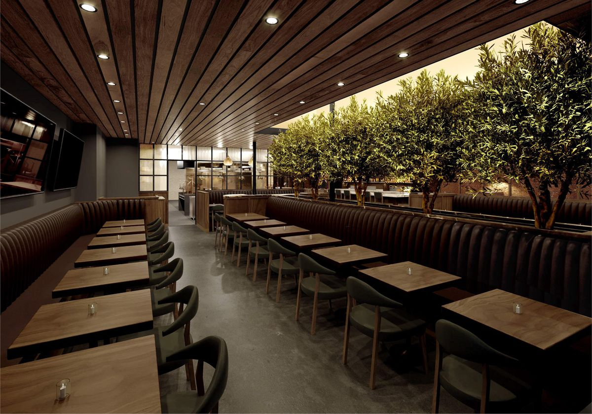 A rendering for a leafy restaurant with plants growing down the middle, at night.