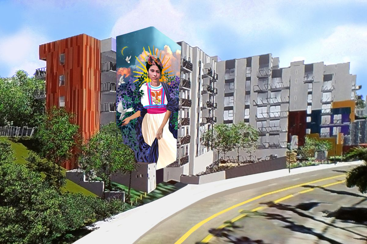 A rendering of a mural depicting a Mexican or Mexican-American woman on a background of plants and flowers.