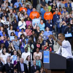 President Barack Obama speaks at a campaign event at Bowling Green State University, Wednesday, Sept. 26, 2012, in Bowling Green, Ohio.