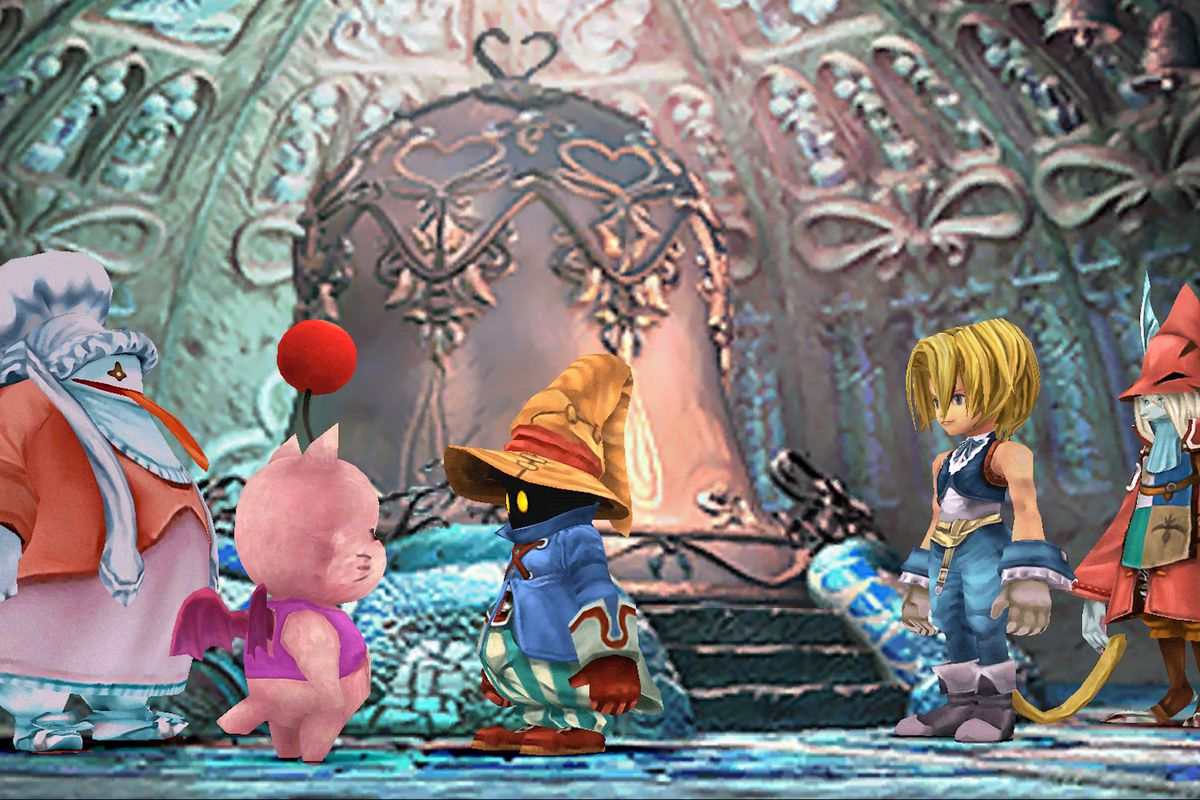 Black Mage Vivi talks to a Moogle in a screenshot from Final Fantasy 9