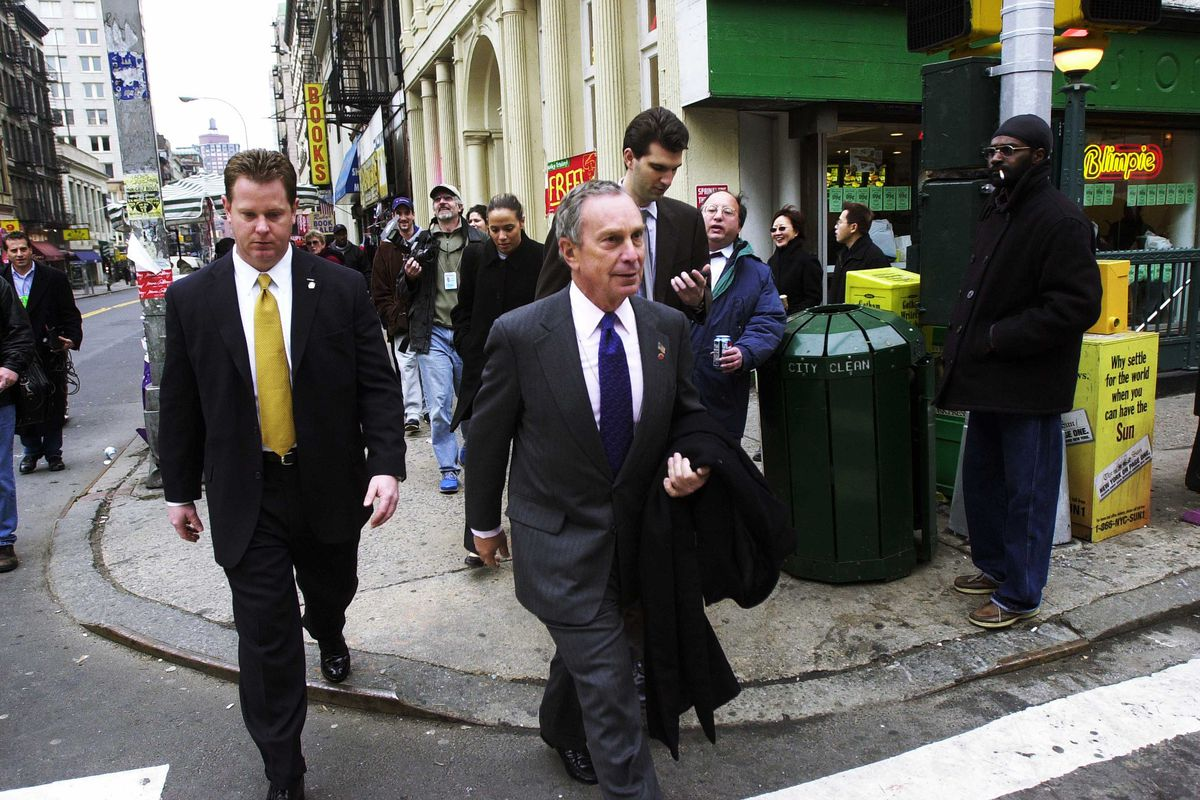 Mike Bloomberg walks to New York's City Hall in 2002.