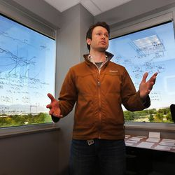 Surrounded by schematics that are being used to develop a mobile app to aid doctors with patient treatment, Polarity CEO Dr. Denver Lough explains how the process works on Friday, June 2, 2017 in their Salt Lake City offices.