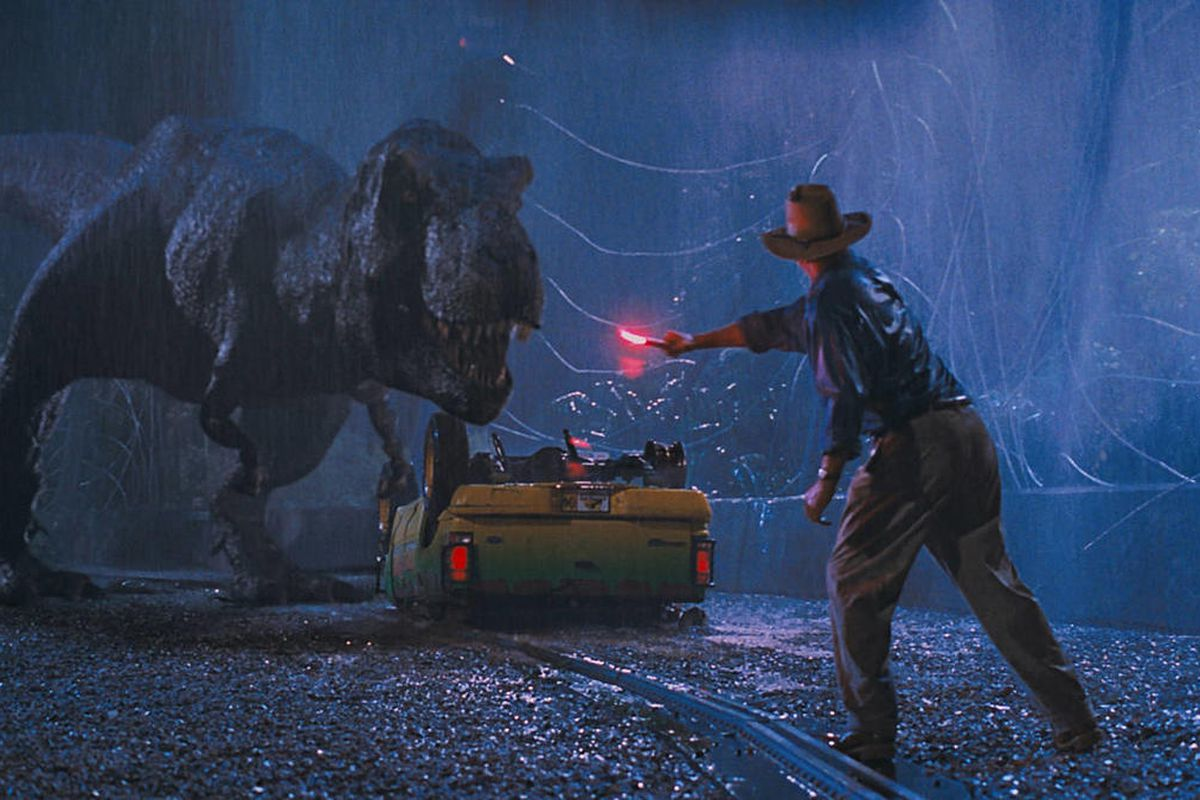 """Sam Neill in """"Jurassic Park."""" The dinosaurs were knocked out from an asteroid strike."""