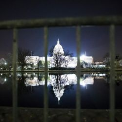 The U.S. Capitol is illuminated as preparations continue for the inauguration of President-elect Donald Trump in Washington, D.C., on Thursday, Jan. 19, 2017.