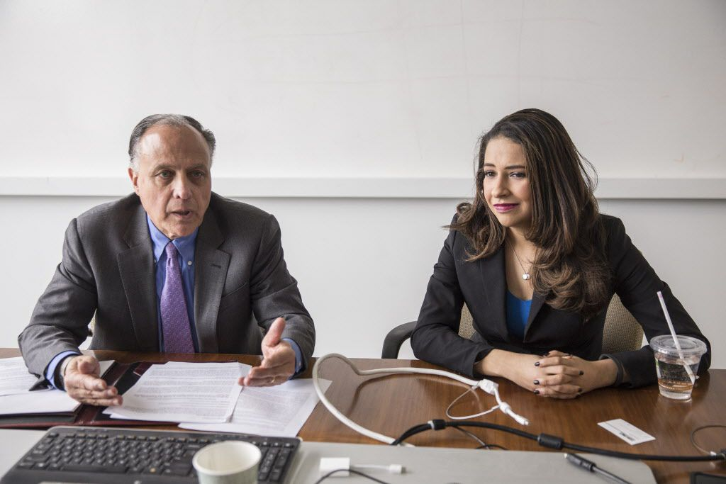 Republican Attorney General Primary Candidates Gary Grasso, left, and Erika Harold met with the Sun-Times Editorial Board Tuesday, Jan. 16, 2018. | Rich Hein/Sun-Times