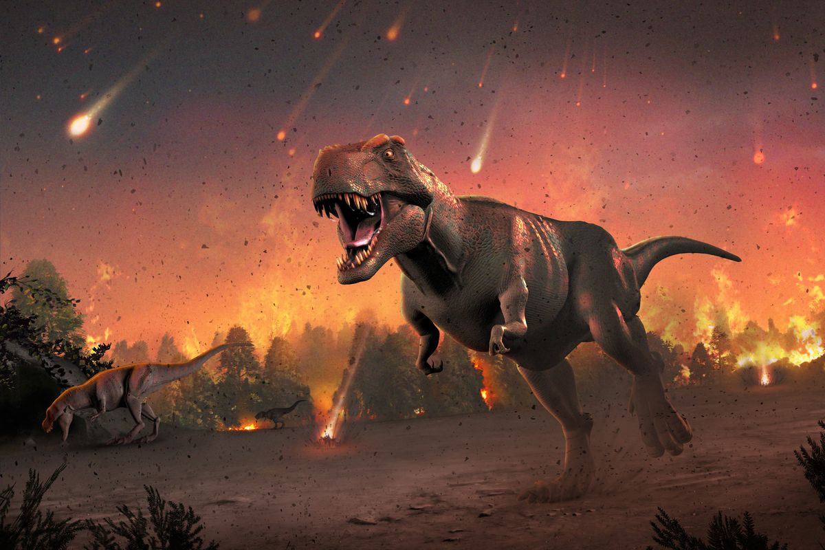 Dinosaurs flee molten rocks in the aftermath of an asteroid impact.