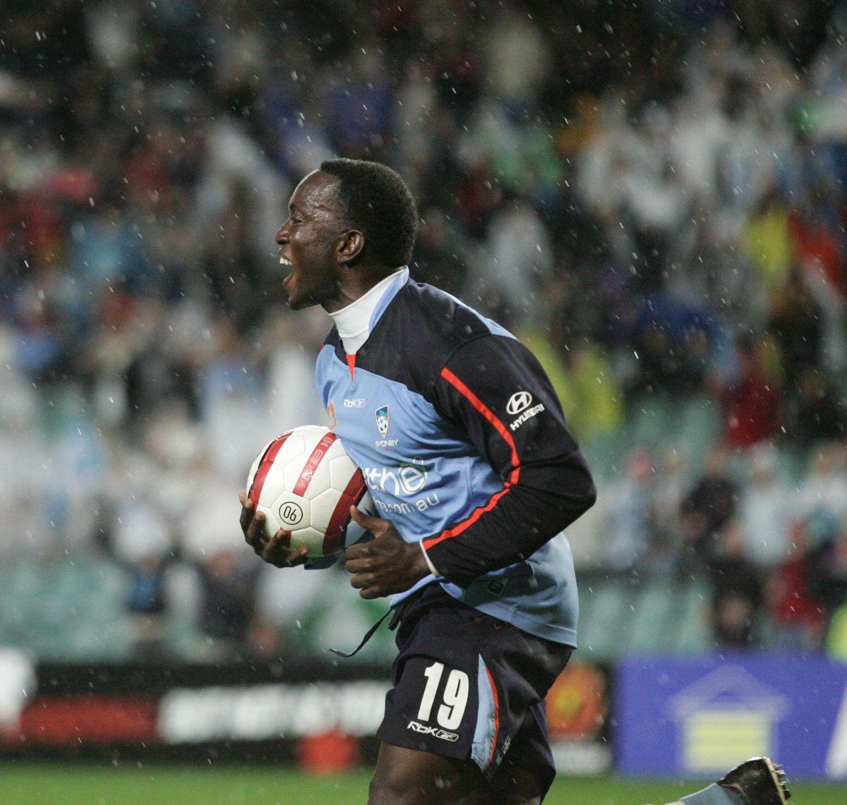 Sydney FC V Central Coast's Dwight Yorke scores for Sydney's second goal, 16 Sep
