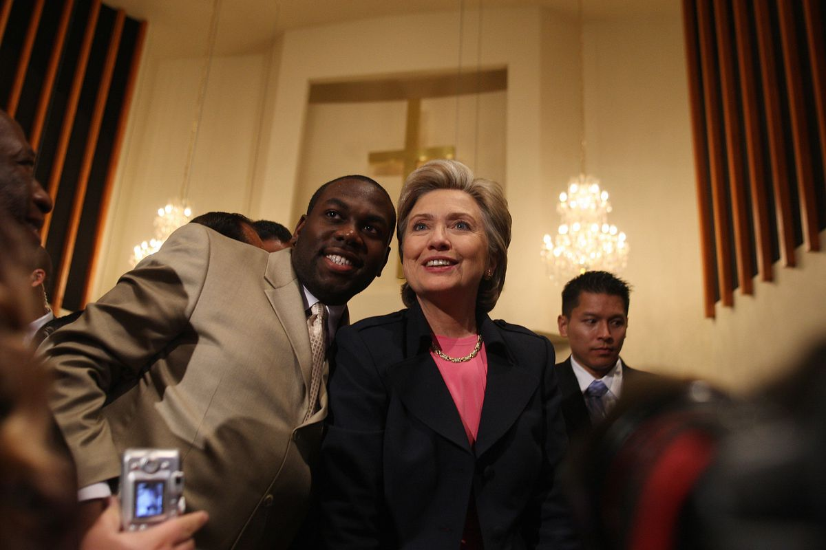 Hillary Clinton with supporters at a Compton, California church in 2008