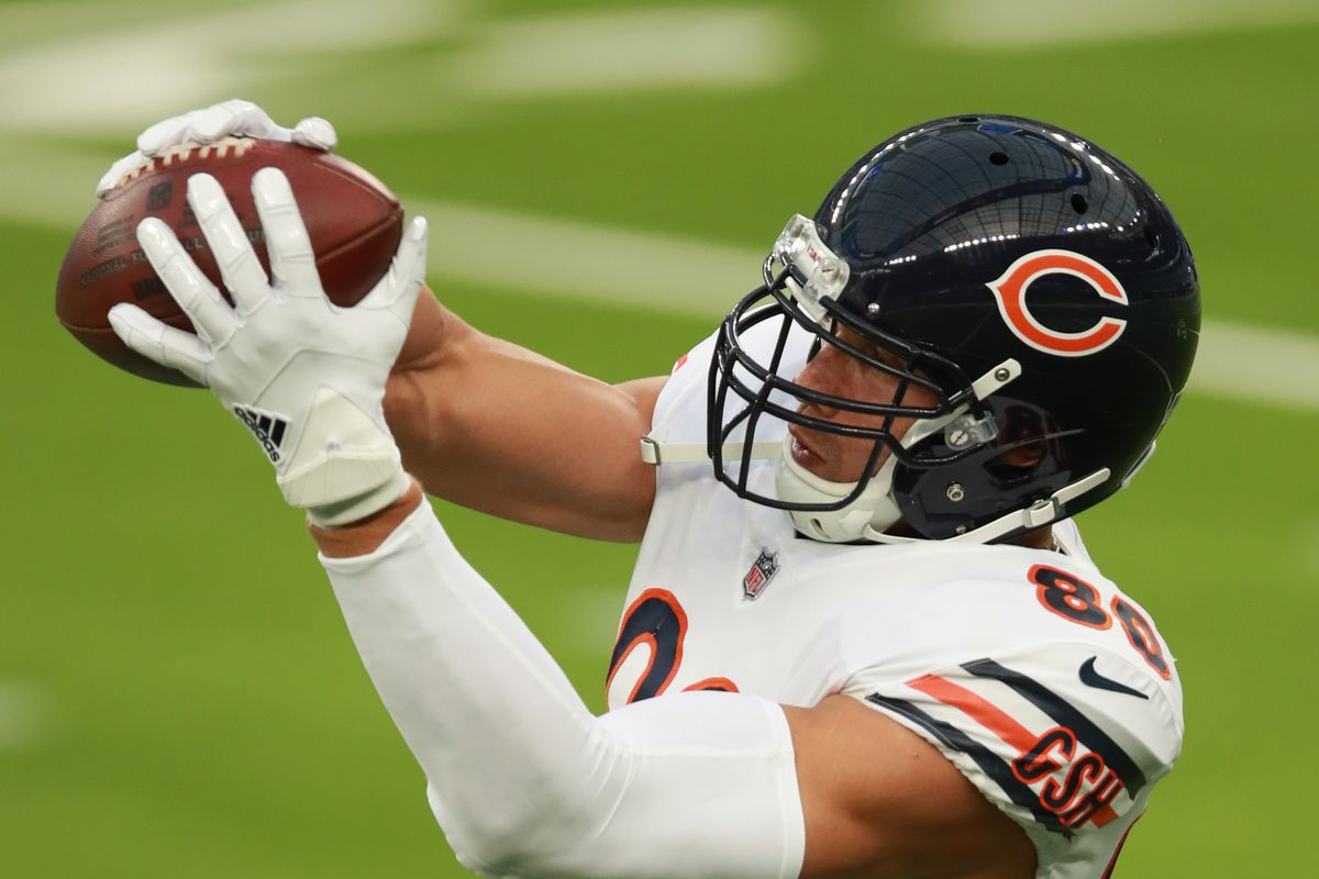 Jimmy Graham of the Chicago Bears makes a catch prior to the start of the game against the Los Angeles Rams at SoFi Stadium on October 26, 2020 in Inglewood, California.