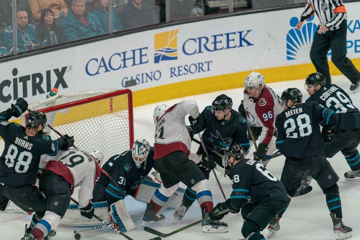 Mar 1, 2019; San Jose, CA, USA; San Jose Sharks goaltender Martin Jones (31) makes a save against \a19\ during the third period at SAP Center at San Jose.