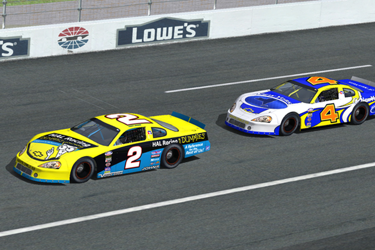 Tony Johns (2) leads Ron Quincel (4) during Hawaii Ace League sim racing action in 2010
