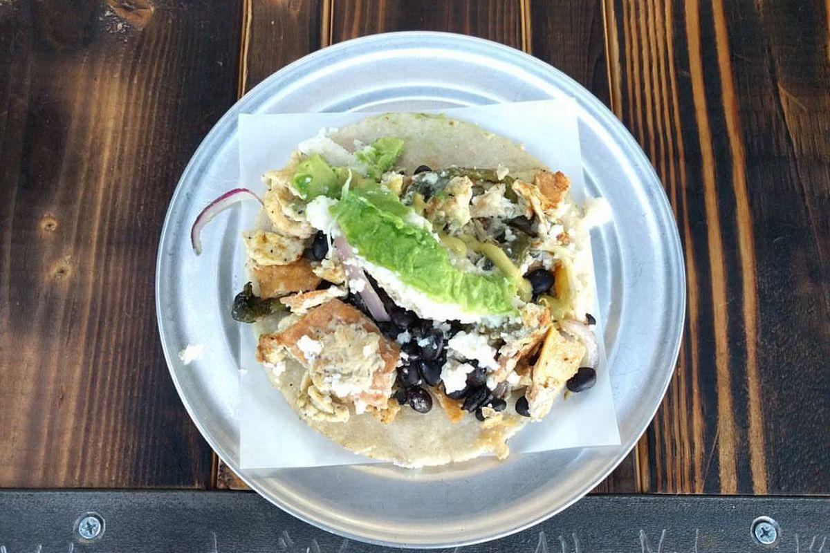 The migas poblanos taco from Veracruz All Natural