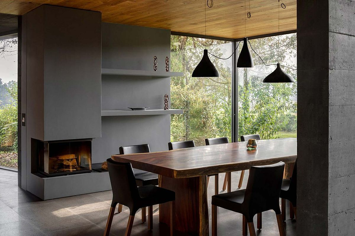 Dining room with table and pendant lamps