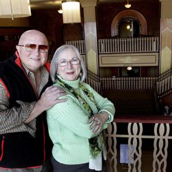 In this photo taken March 13, 2012, Richard and Arlene Hawks pose inside the Paramount Theatre in Aurora, Ill. The Hawks recently were named chairmen of the Paramount Arts Centre Endowment to provide funding for the 1,888-seat, 1930's art deco theater. With their support and leadership over the years, the Paramount already has been restored to its former glory, added a 12,000-square-foot Grand Gallery, hired its first artistic director and successfully launched a locally produced Broadway series.