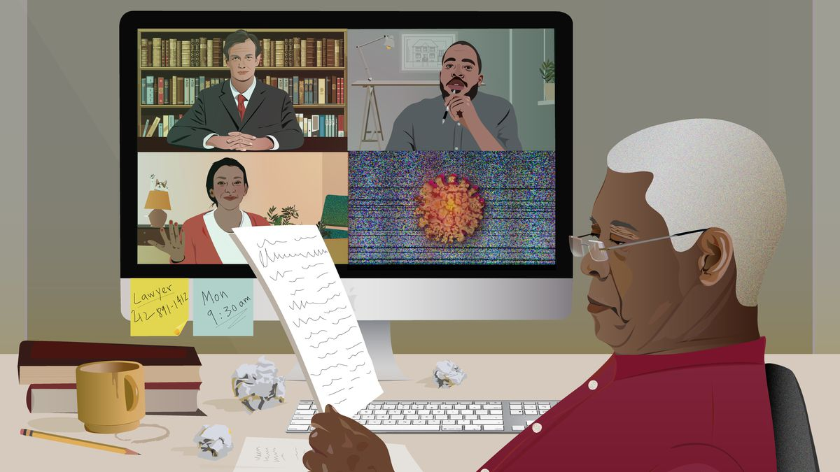 An illustration of an older person sitting at a desk looking at a piece of paper while a four-person conference call appears on the screen behind them.