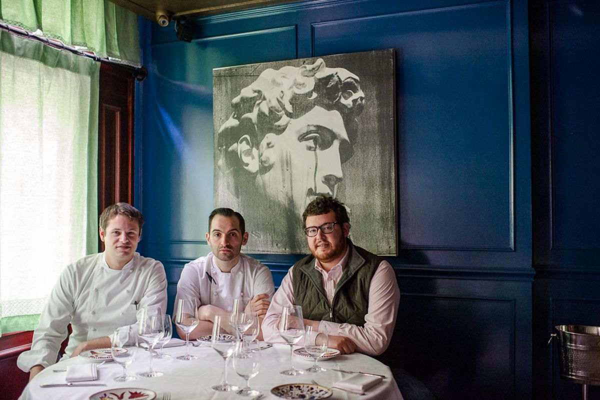 Rich Torrisi, Mario Carbone, and Jeff Zalaznick at Carbone in Greenwich Village