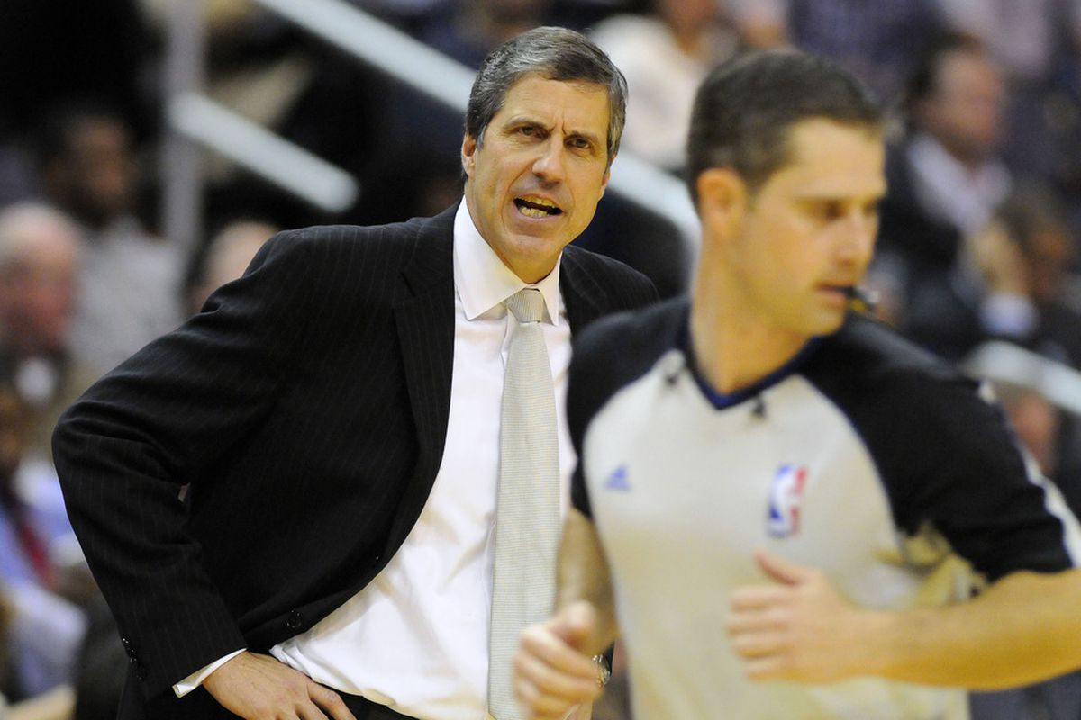 Mar 26, 2012; Washington, DC, USA; Washington Wizards head coach Randy Wittman reacts during the game against the Detroit Pistons during the first half at the Verizon Center. Mandatory Credit: Brad Mills-US PRESSWIRE