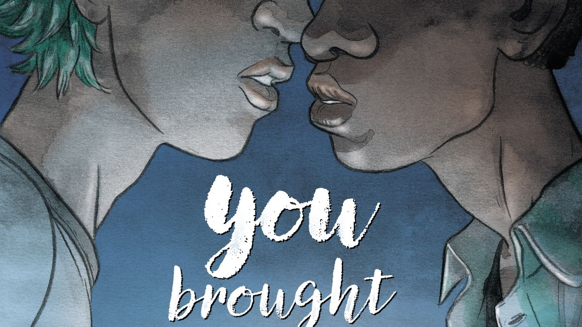 Kenny Liu and Jake Hyde clasp hands and nearly kiss in the glow of Jake's aquakinetic superpowers, on the cover of You Brought Me the Ocean, DC Comics (2020).
