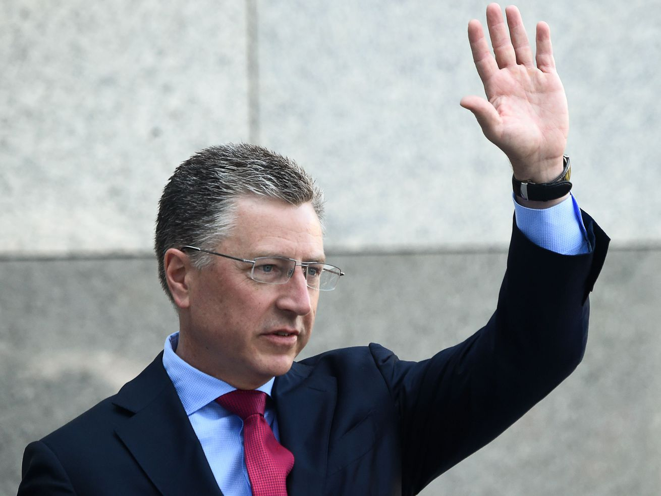 US special envoy for Ukraine Kurt Volker waves as he arrives prior to a press-conference in Kiev on July 27, 2019 following his visit in Ukraine