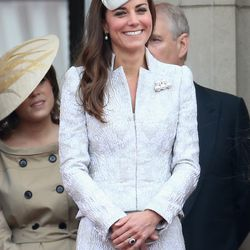 In Alexander McQueen for London's Trooping The Colour ceremony on June 14th, 2014.