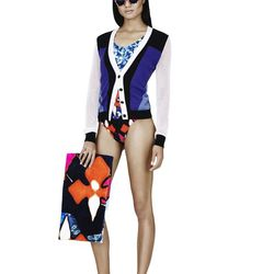 Cardigan in Blue/White/Black Colorblock, $34.99; One-Piece Swimsuit in Red Iris Print, $34.99; Beach Towel in Red Iris Print, $24.99; Sunglasses in Red Iris Print, $16.99