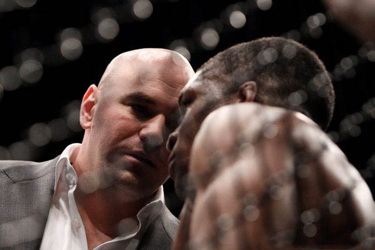 Dana White speaks to Paul Daley at UFC 113. (Photo by Tracy Lee for Yahoo! Sports)