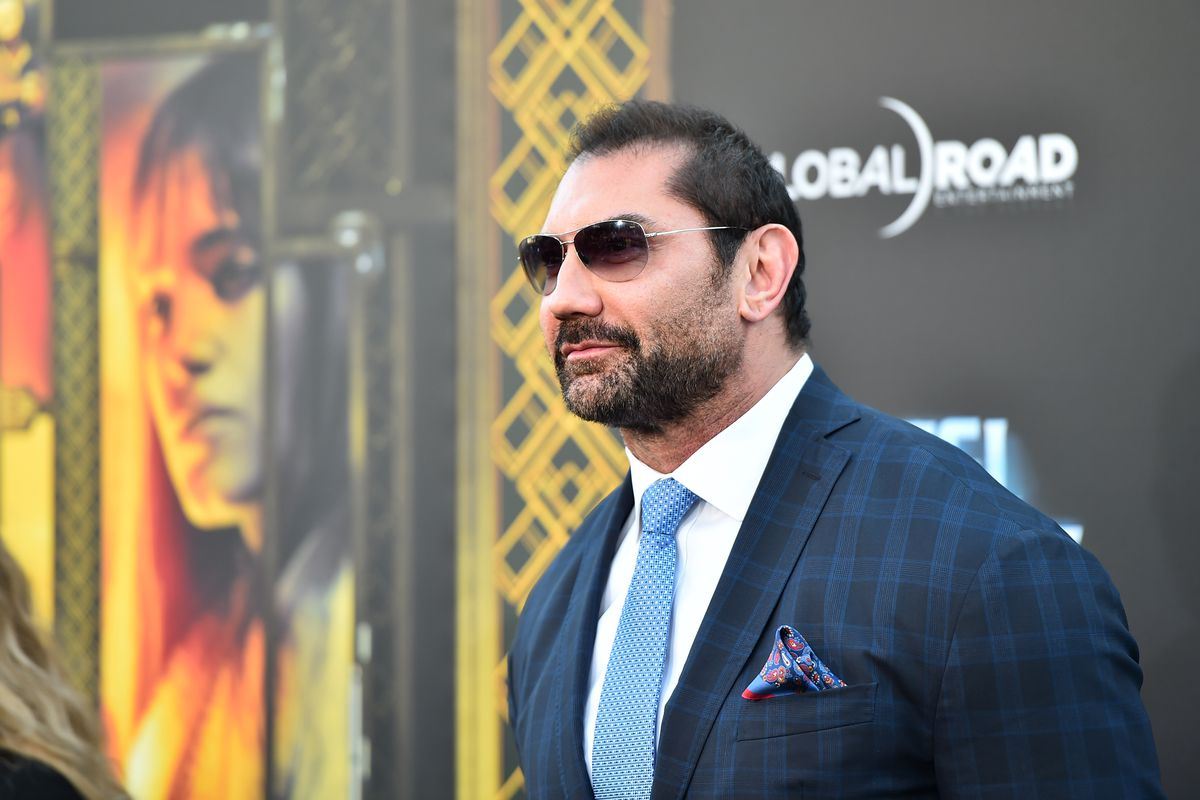 Dave Bautista arrives at the Hotel Artemis premiere
