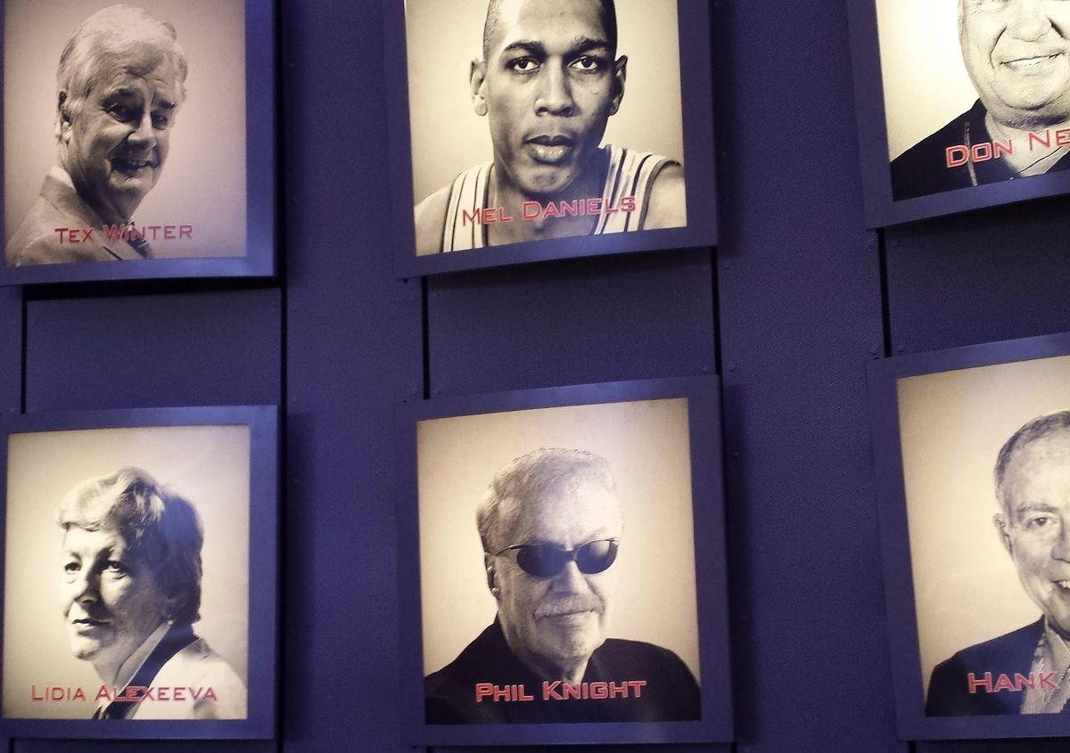 Portraits at the Basketball Hall of Fame: Tex Winter, Mel Daniels, Don Nelson, Lidia Alexeeva, Phil Knight