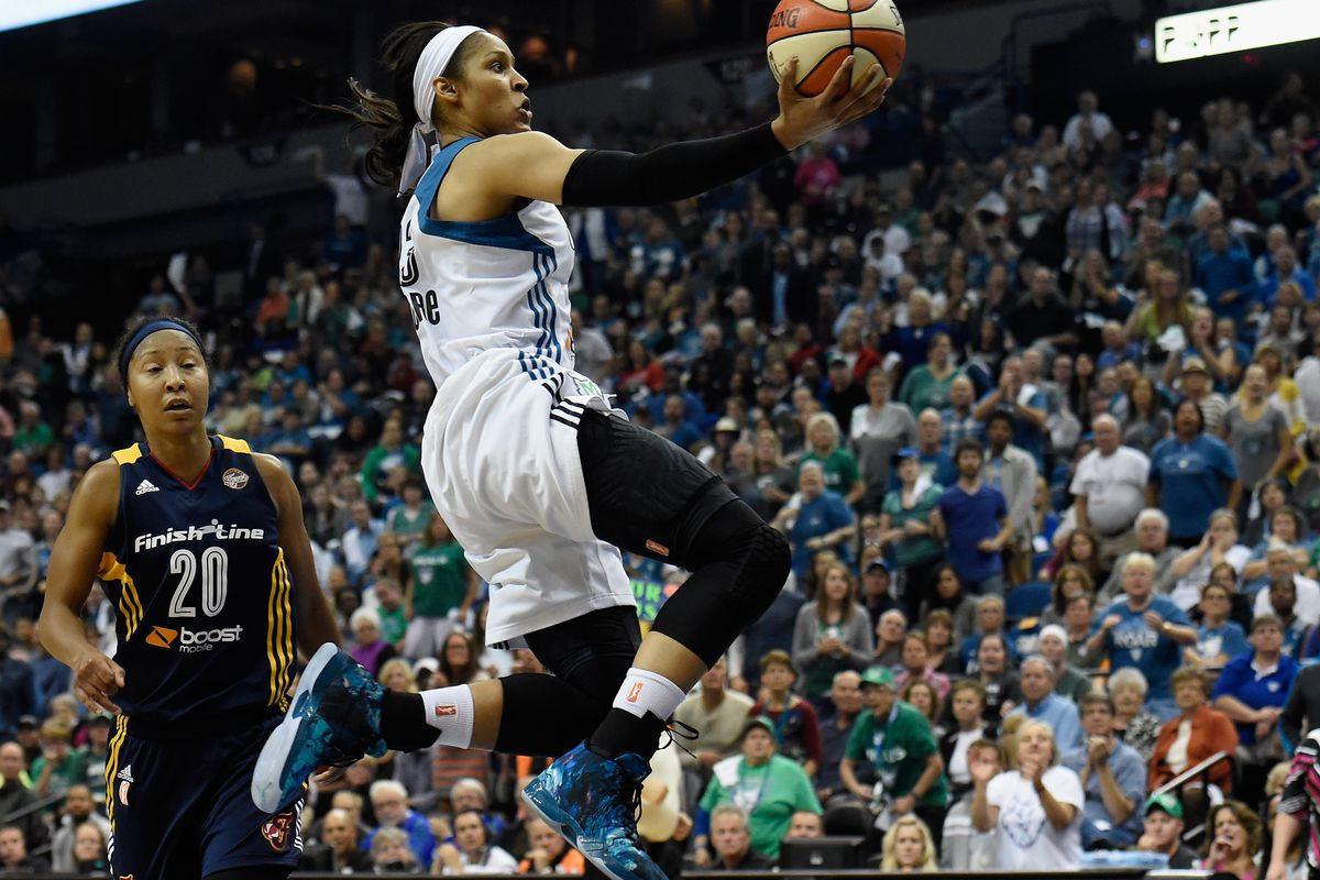 c1820e846d9 Maya Moore of the Minnesota Lynx scores on fast break against Briann  January. Photo by Hannah Foslien Getty Images