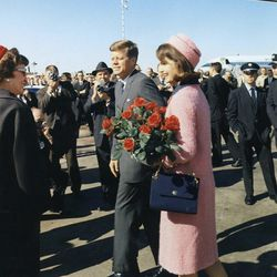 """The infamous pink boucle Chanel suit on the day of JFK's assassination in 1963, via <a href=""""http://www.ldcfitzgerald.com/18-years-ago-the-world-lost-jacqueline-kennedy-onassis/"""">L.D.C. Fitzgerald</a>"""