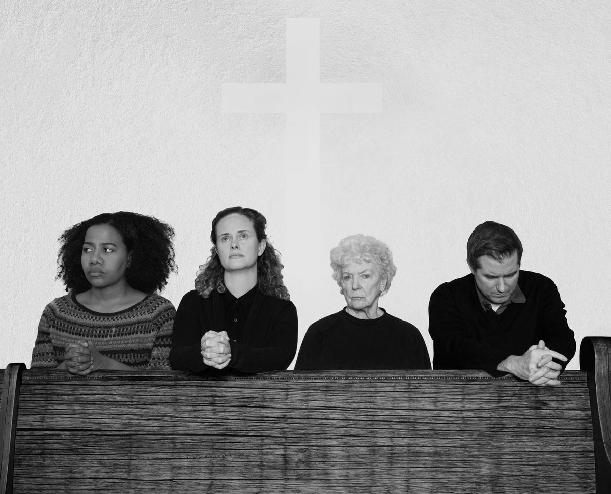 """Jennifer Glasse (from left), Cyd Blakewell, Mary Ann Thebus and Michael Patrick Thornton are among the cast of The Gift Theatre's production of """"Doubt: A Parable."""" 