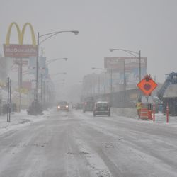 Looking north on Clark from Addison during the afternoon snowstorm