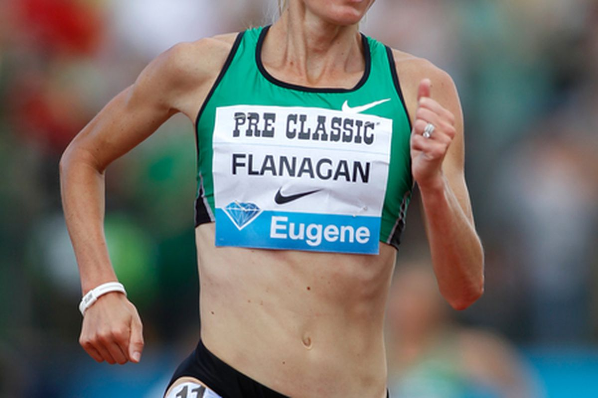 EUGENE OR - JULY 03:  Shalane Flanagan of USA runs inthe 5000m during the IAAF Diamond League Prefontaine Classic on July 3 2010 at Hayward Field in Eugene Oregon.  (Photo by Jonathan Ferrey/Getty Images)