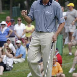 Steve Stricker pumps his fist after a birdie on the ninth hole during the final round of the Memorial golf tournament at Muirfield Village Golf Club in Dublin, Ohio Sunday, June 5, 2011.