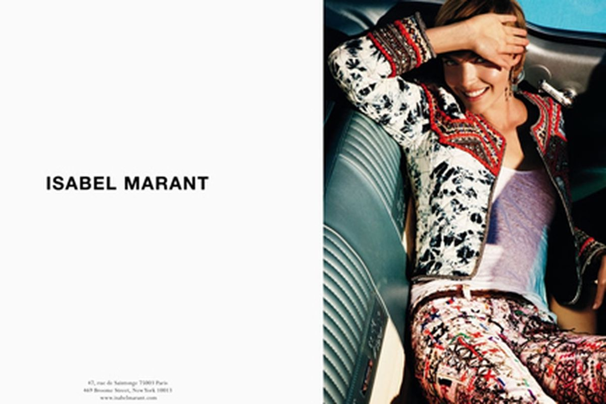 """Isabel Marant spring 2012 campaign. Photo via <a href=""""http://www.fashionising.com/pictures/p--Arizona-Muse-Isabel-Marant-SS-12-13102-1832198.html"""">Fashionising</a>."""