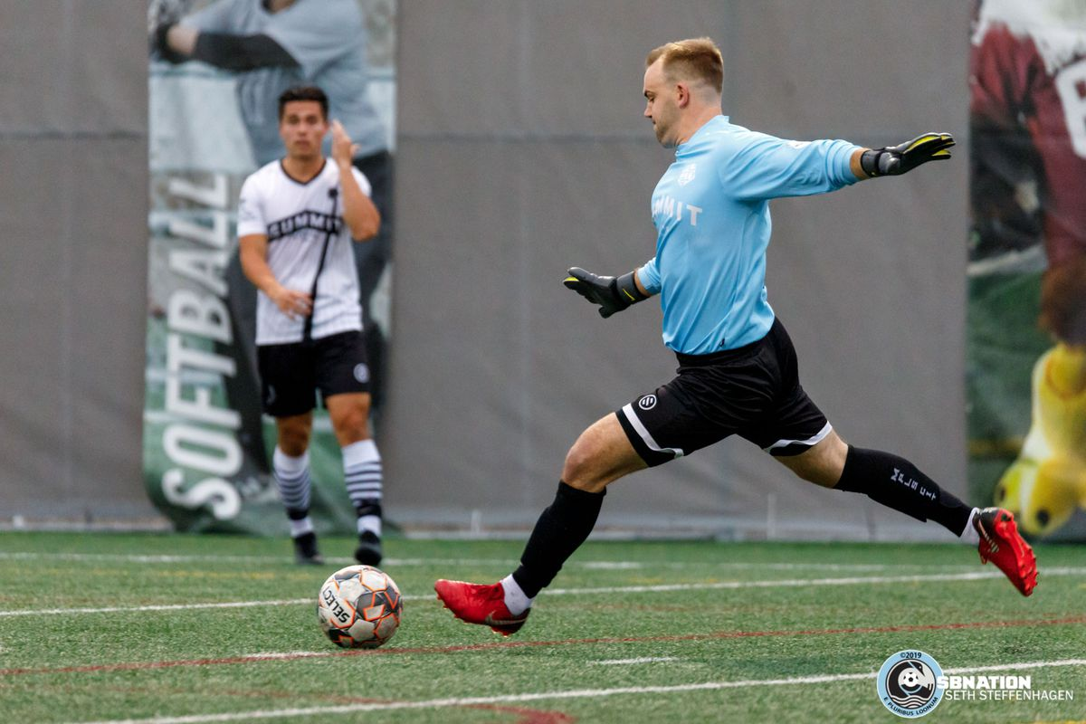 June 22, 2019 - Minneapolis, Minnesota, United States - Minneapolis City SC goalkeeper Matt Elder (1) takes a goal kick during a match against MapleBrook Twinstars at Edor Nelson Field.