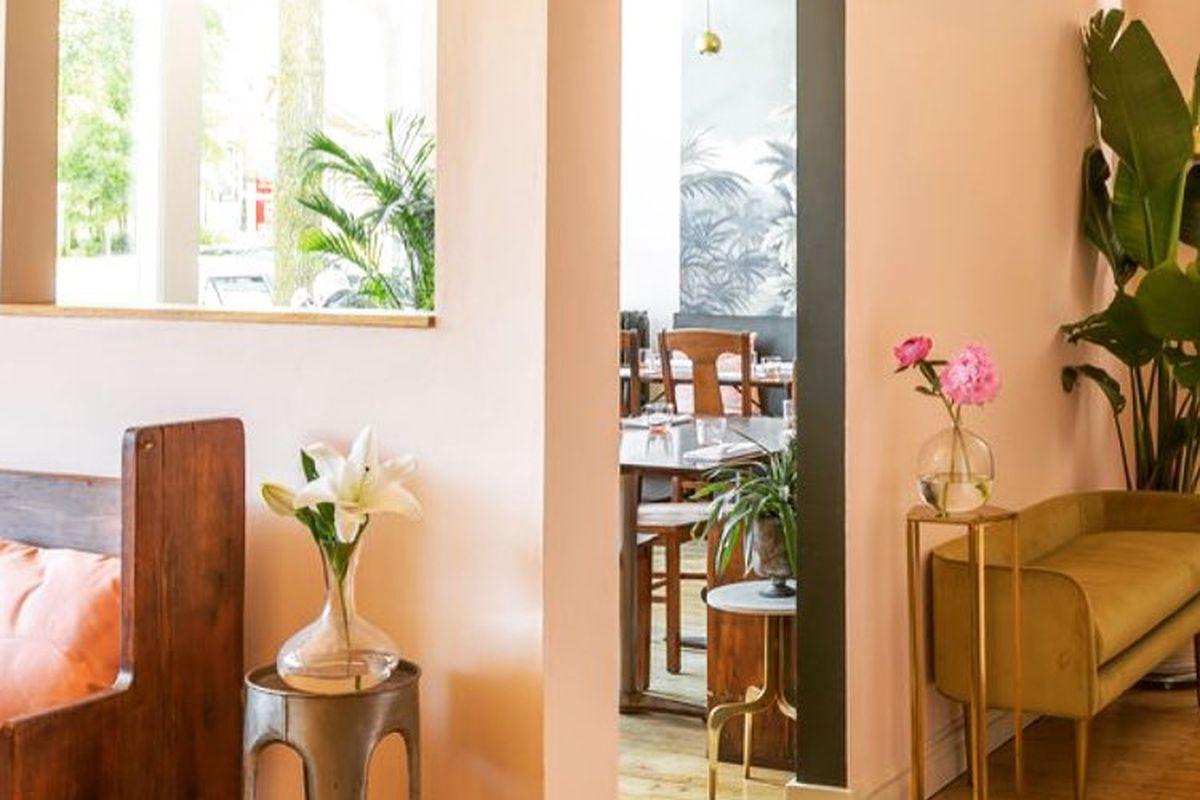 Inside the cozy Grand Cafe