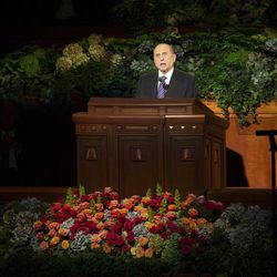 President Thomas S Monson speaks at the conclusion of the 183rd Semiannual General Conference for the Church of Jesus Christ of Latter-day Saints Sunday, Oct. 6, 2013 inside the Conference Center.
