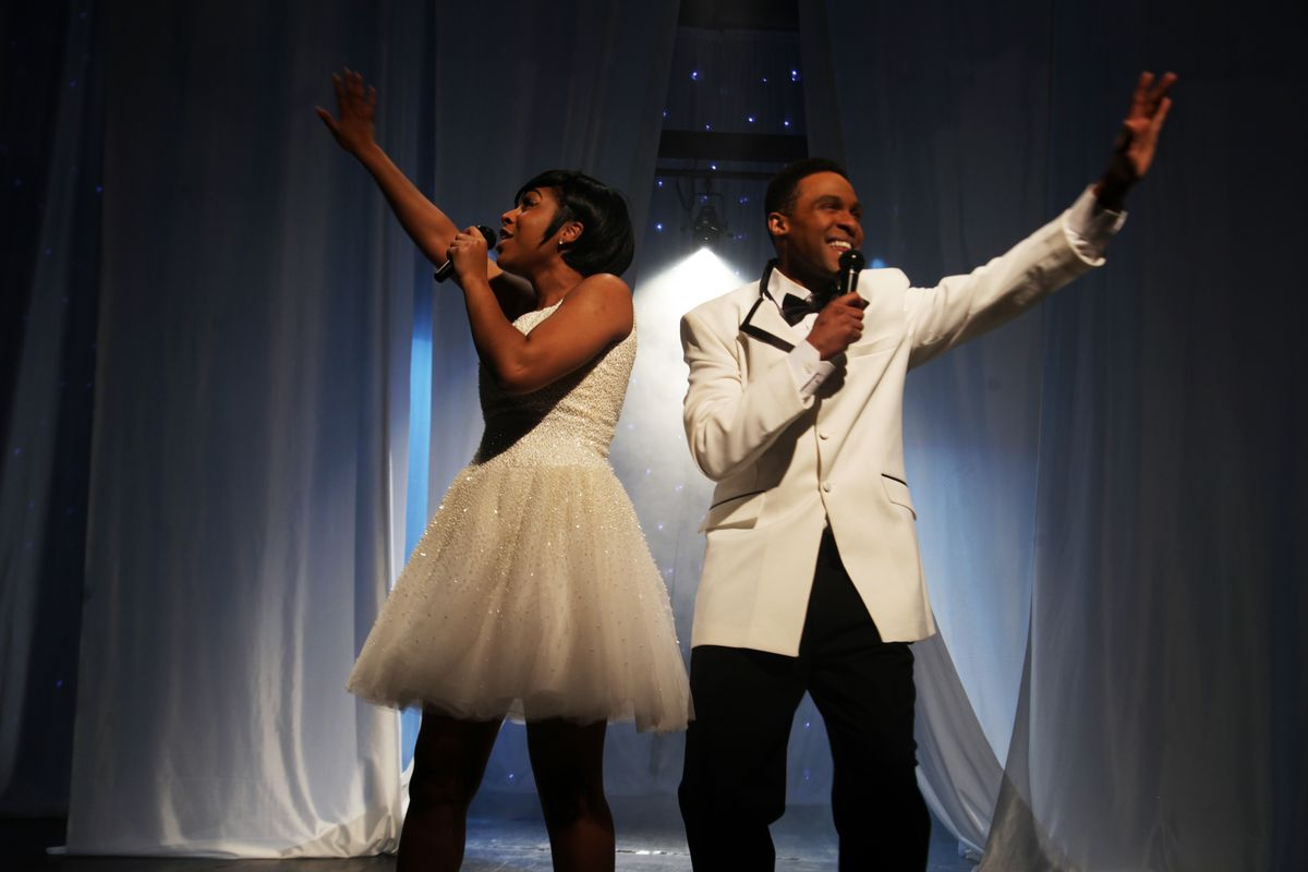 "Jarran Muse stars as Marvin Gaye and Kourtney Lenton stars as '60s Motown singer Tammi Terrell in a scene from ""Pride & Joy: The Marvin Gaye Musical."""