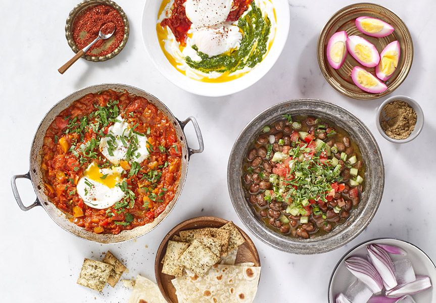 A brunch spread — including shakshuka — at Anoush'ella in Boston's South End
