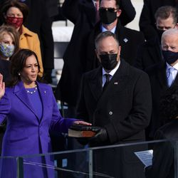 Kamala Harris is sworn in as Vice President of the United States as her husband Doug Emhoff looks on during the inauguration of U.S. President-elect Joe Biden on the West Front of the U.S. Capitol on January 20, 2021 in Washington, DC. During today's inauguration ceremony Joe Biden becomes the 46th president of the United States.