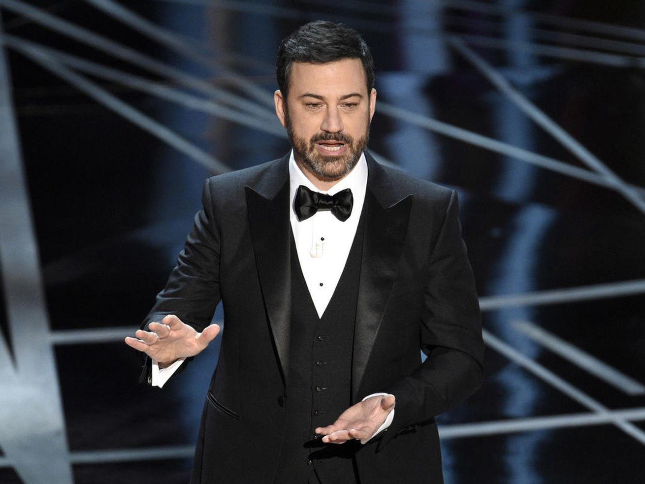 Host Jimmy Kimmel speaks at the Oscars on Sunday, Feb. 26.