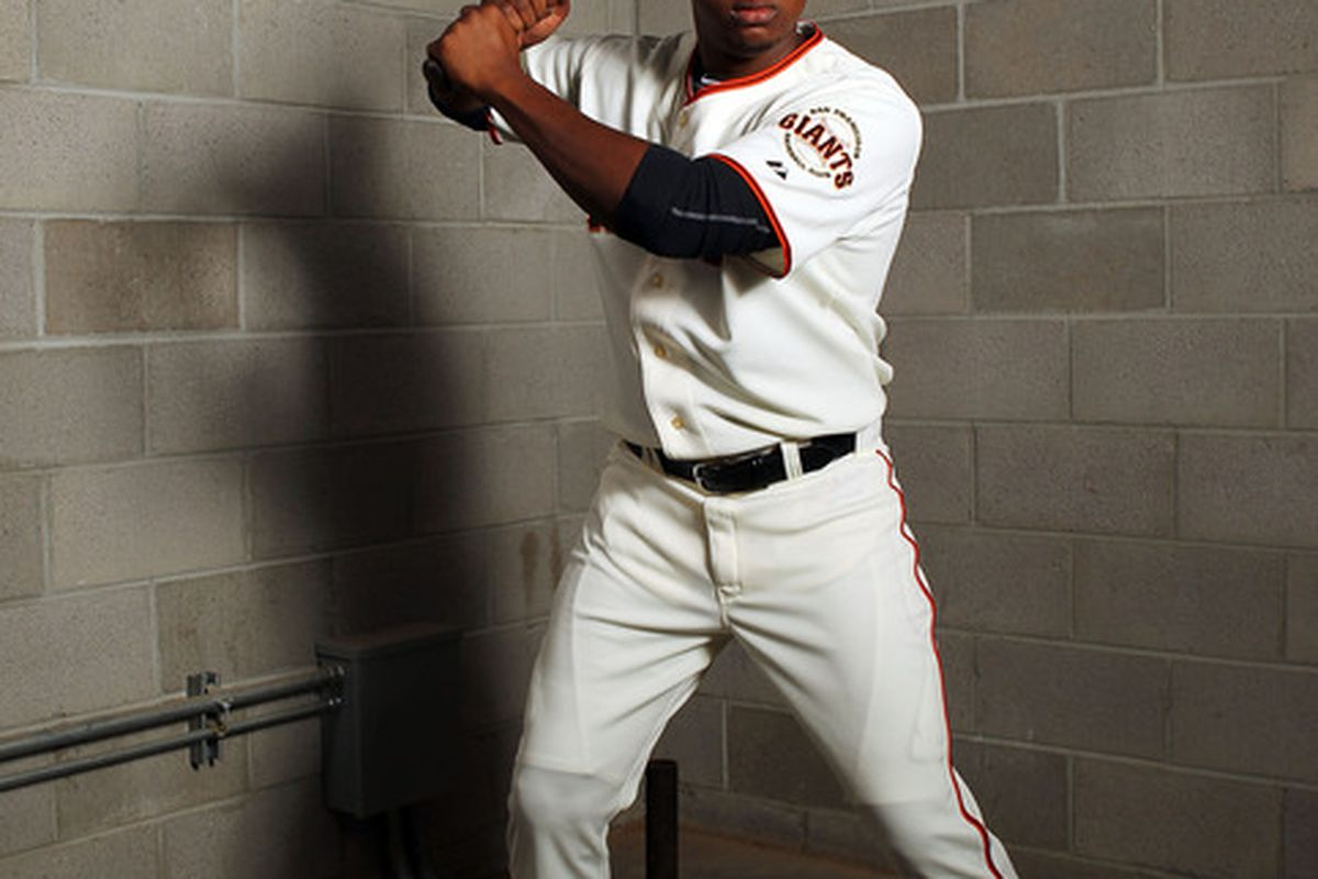 SCOTTSDALE, AZ - MARCH 01:  Francisco Peguero #57 of the San Francisco Giants poses during spring training photo day on March 1, 2012 in Scottsdale, Arizona.  (Photo by Jamie Squire/Getty Images)