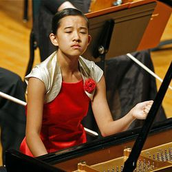 Verinas Chen performs Franz Liszt's Hungarian Fantasy, S. 123, during the 50th anniversary Salute to Youth concert Tuesday in Salt Lake City.