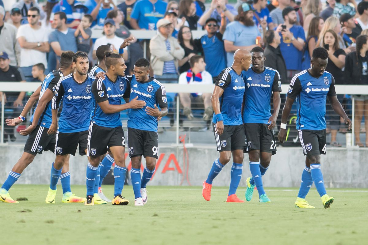 The Quakes celebrate an unlikely 2-1 victory over Toronto FC