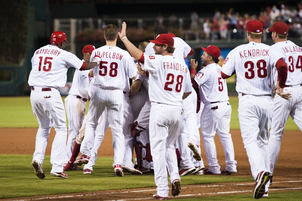 Look! The Phillies are excited! Let's all be excited with them! Mandatory Credit: Howard Smith-US PRESSWIRE