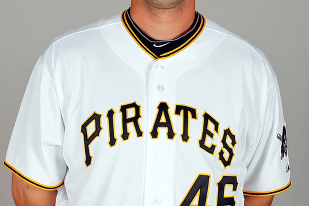 BRADENTON FL - FEBRUARY 20:  Outfielder Garrett Jones #46 of the Pittsburgh Pirates poses for a photo during photo day at Pirate City on February 20 2011 in Bradenton Florida.  (Photo by J. Meric/Getty Images)