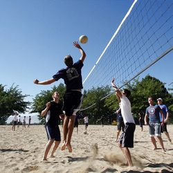 Missionaries play volleyball during their gym time in Provo. An LDS policy change may affect college enrollment.